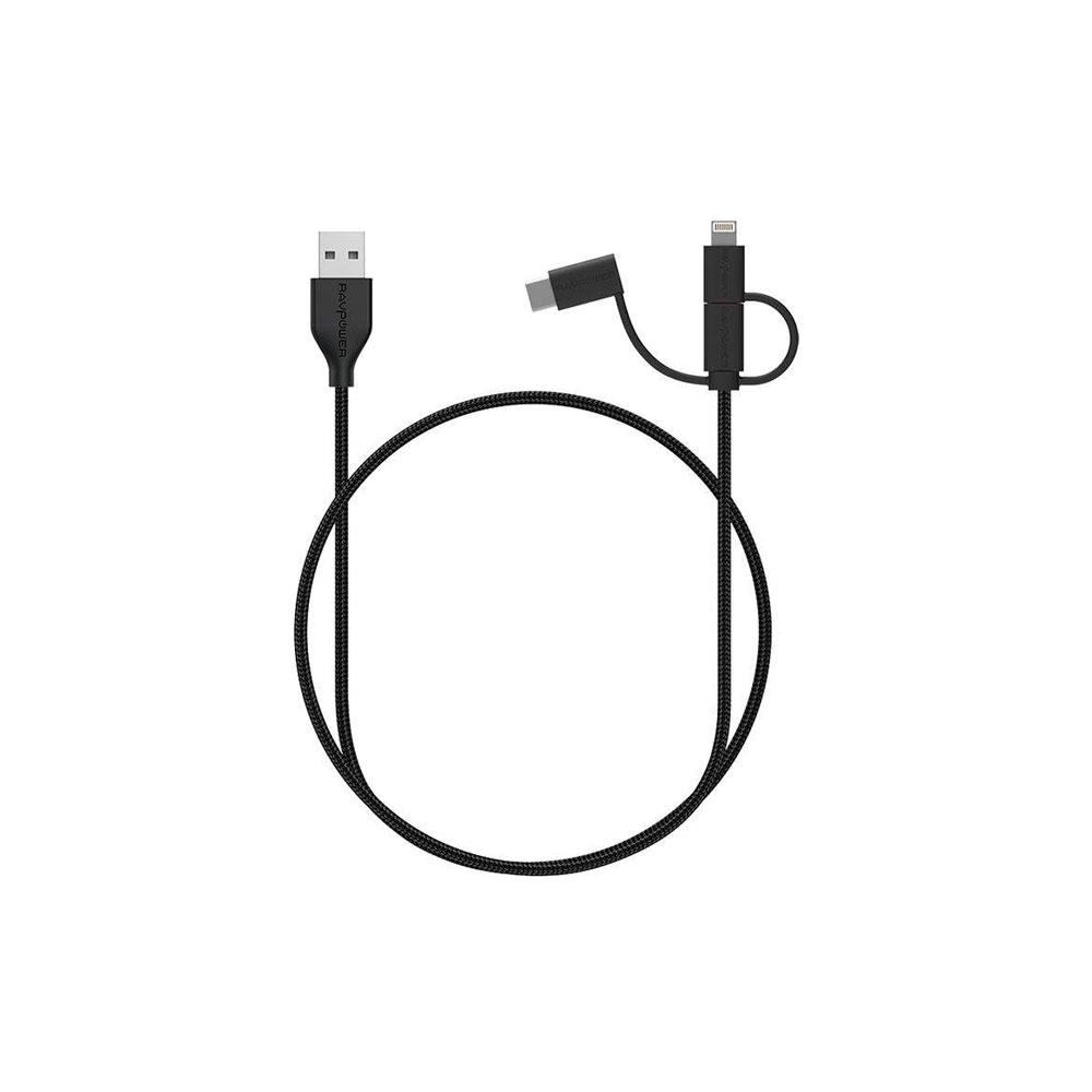 کابل تبدیل USB به لایتنینگ/ USB-C/ microUSB راو پاور مدل RP-CB021 طول 0.9 متر