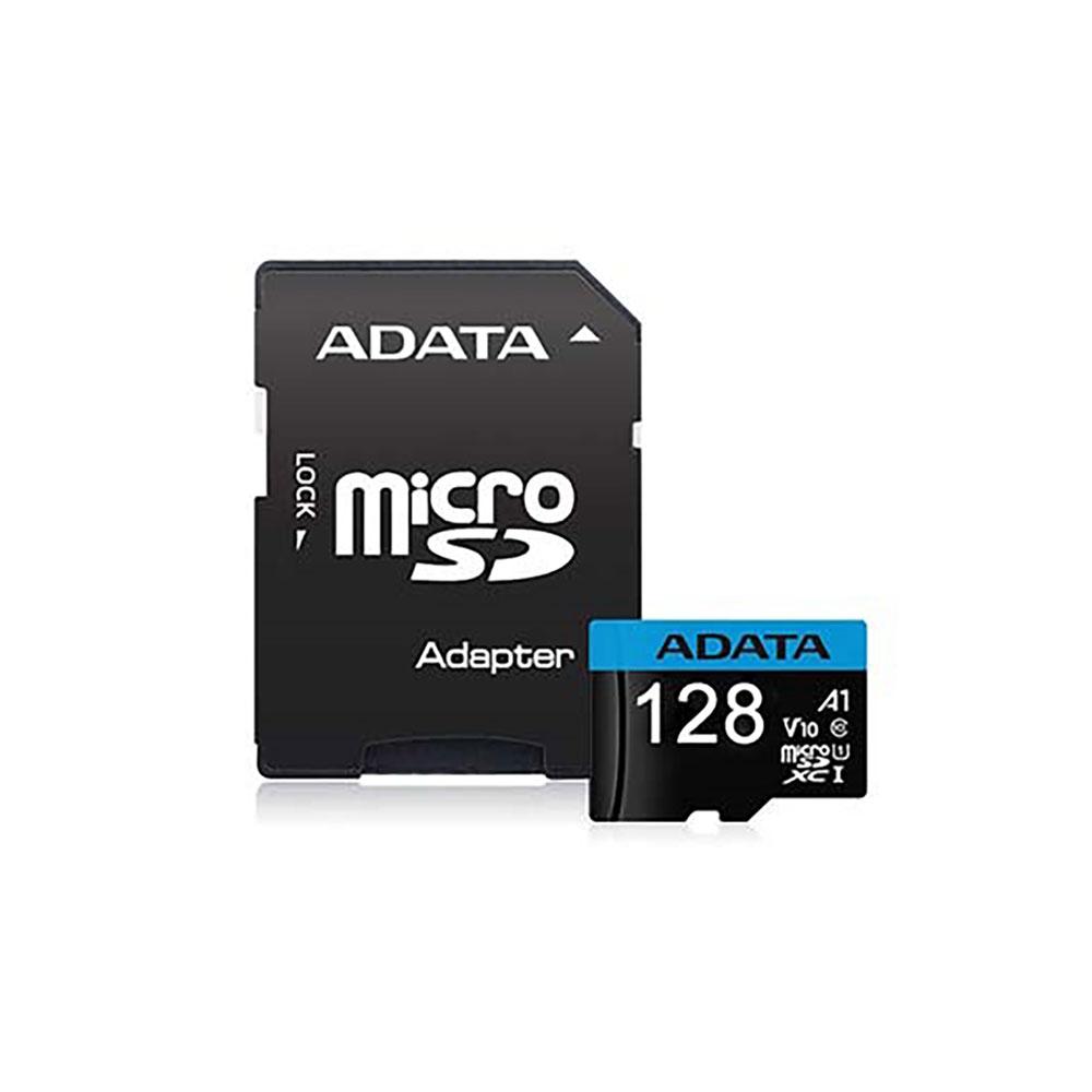 کارت حافظه microSDXC ای دیتا مدل Premier V10 A1 کلاس ۱۰ استاندارد UHS-I U1 سرعت ۱۰۰MBps همراه با آداپتور SD ظرفیت ۱۲۸ گیگابایت