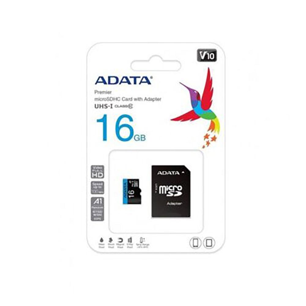 کارت حافظه microSDHC ای دیتا مدل Premier V10 A1 کلاس ۱۰ استاندارد UHS-I U1 سرعت ۱۰۰MBps همراه با آداپتور SD ظرفیت ۱۶ گیگابایت