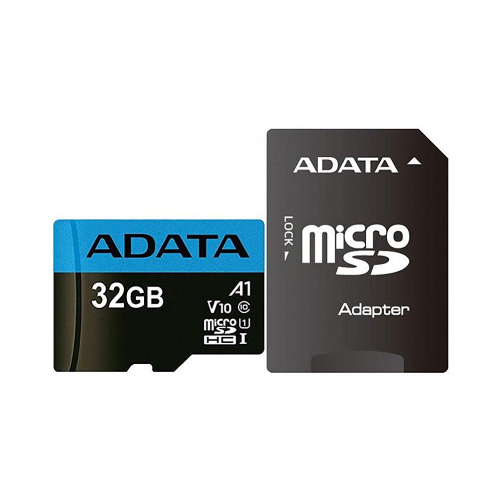 کارت حافظه microSDHC ای دیتا مدل Premier V10 A1 کلاس ۱۰ استاندارد UHS-I U1 سرعت ۱۰۰MBps همراه با آداپتور SD ظرفیت ۳۲ گیگابایت