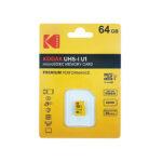 کارت حافظه microSDXC کداک مدل Premium Performance کلاس ۱۰ استاندارد UHS-I U1 سرعت ۸۵MBps ظرفیت ۶۴ گیگابایت